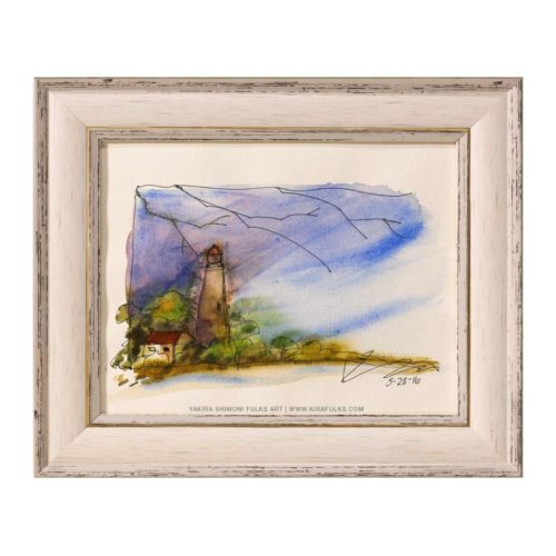 LILAC SKY-Lighthouse Watercolors ©Yakira Shimoni Fulks—Kiras Art and Poetry