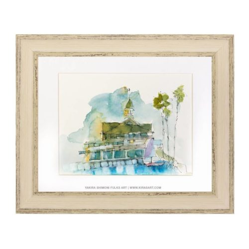 Balboa Pavillion-watercolors ©Yakira Shimoni Fulks—Kiras Art and Poetry