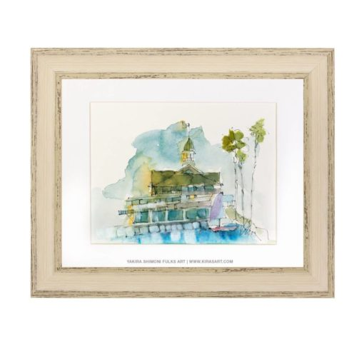 Balboa Pavillion-watercolors ©Yakira Shimoni Fulks—Kiras Art and Poetry