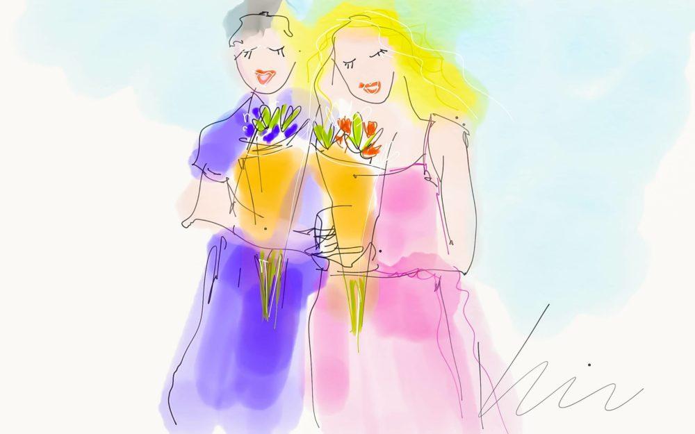 Blossoms and Buddies-girls with flowers ©Yakira Shimoni Fulks—Kiras Art and Poetry