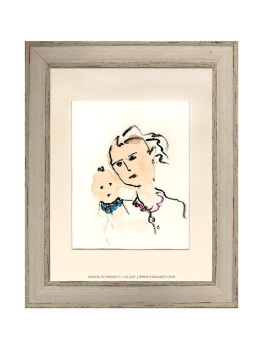 Mother and Child-1 watercolors ©Yakira Shimoni Fulks—Kiras Art and Poetry