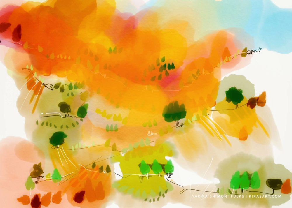 Autumn Morning landscape ©Yakira Shimoni Fulks—Kiras Art and Poetry