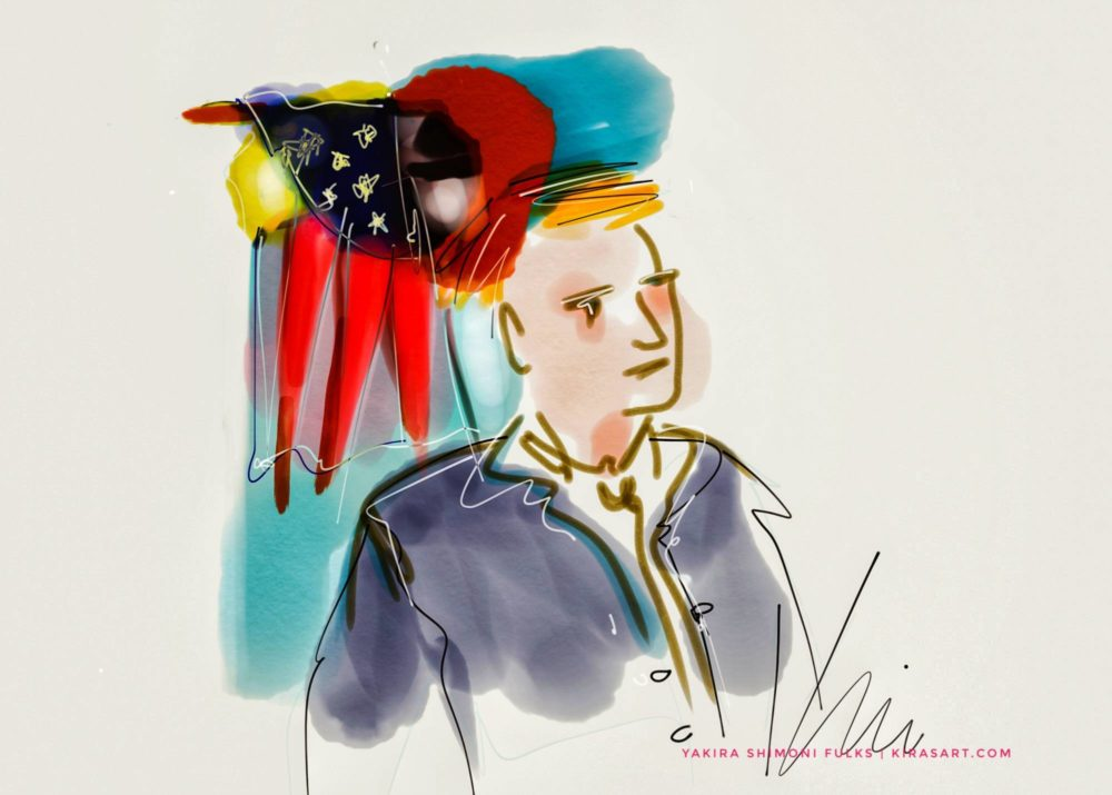 Let the Truth -flag man watercolors ©Yakira Shimoni Fulks—Kiras Art and Poetry