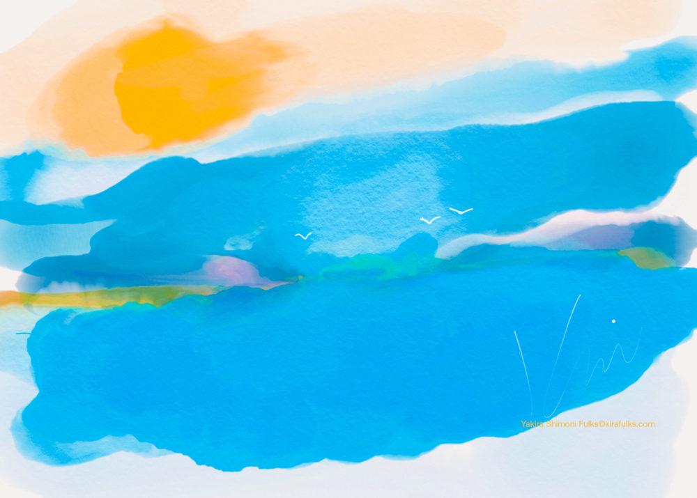 Sunday at the Cove- Ocean seagulls ©Yakira Shimoni Fulks—Kira Art and Poetry